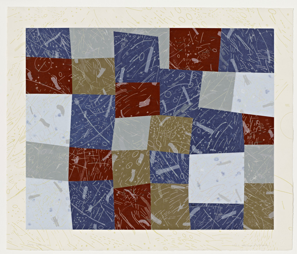 Howardena Pindell (U.S.A., b. 1943), Flight/Fields, 1988–89. Lithograph, etching, and collage. Cantor Arts Center collection, Committee for Art Acquisitions Fund, 1993.4. © Howardena Pindell, courtesy Garth Greenan Gallery, New York